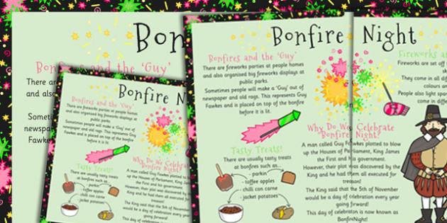 Bonfire Night Large Information Poster KS1 - Bonfire, Fire, KS1