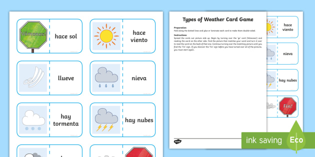 types of weather card game spanish spanish games spanish weather spanish. Black Bedroom Furniture Sets. Home Design Ideas