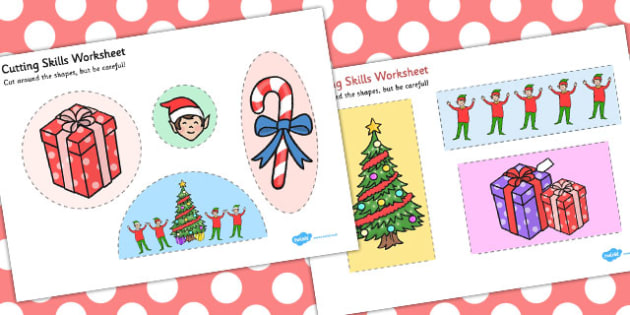 Elf Themed Cutting Skills Worksheet - elf, cutting, skills, sheet