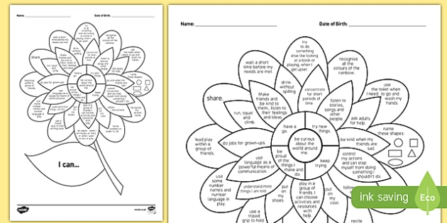 2-3 Year Olds 'I Can' Assessment Flower