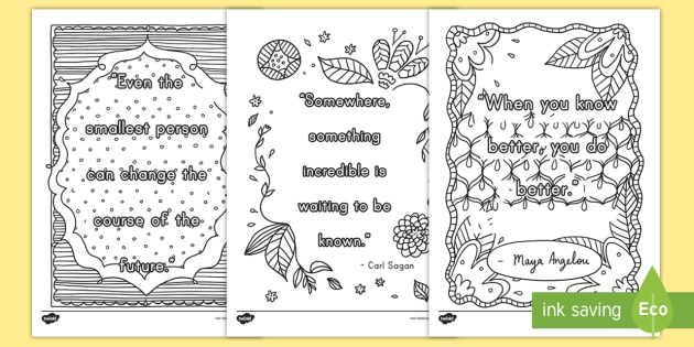 Classroom Inspirational Quotes Mindfulness Coloring
