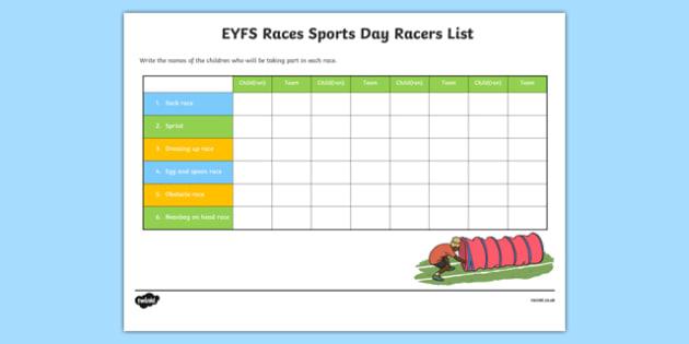 EYFS Races Sports Day Racers List