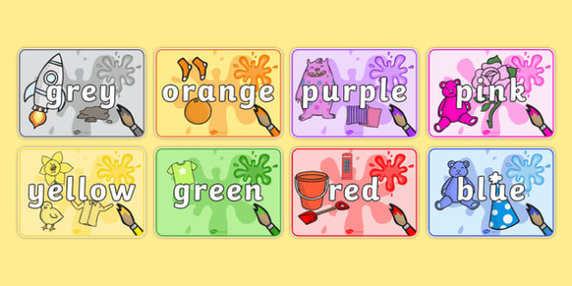 Colour Items Display Posters - red, orange, yellow, green, blue, ks1, eyfs, colour, art, visual, aid,