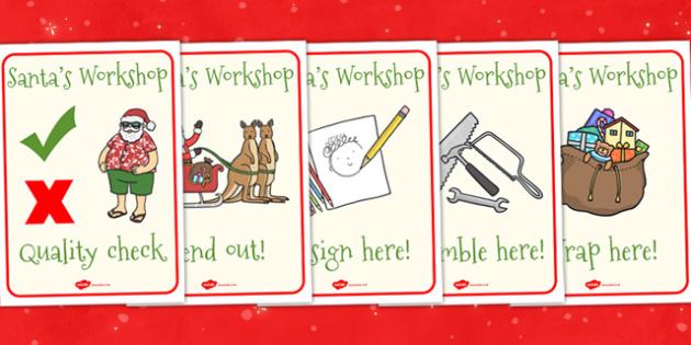 Australia Santas Workshop Roleplay Display Posters - santa, xmas, posters