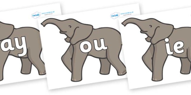 Phase 5 Phonemes on Elephants - Phonemes, phoneme, Phase 5, Phase five, Foundation, Literacy, Letters and Sounds, DfES, display