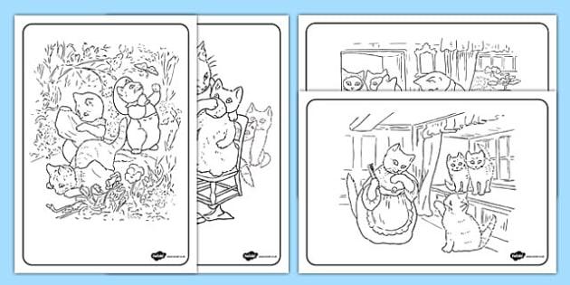 Beatrix Potter - The Tale of Tom Kitten Colouring Sheets - beatrix potter, tom kitten