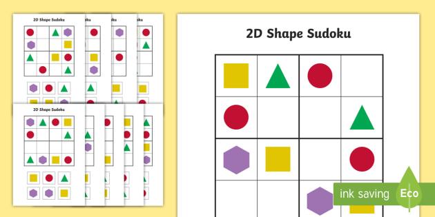 2D Shape Sudoku - shapes, 2D shapes, number games, maths, number