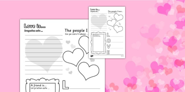 Valentine's Day Worksheet Romanian Translation - romanian, worksheets, worksheet, work sheet, valentines day, valentines, valentines worksheet, acrostic poem worksheet, people I love worksheet, sheets, activity, writing frame, filling in