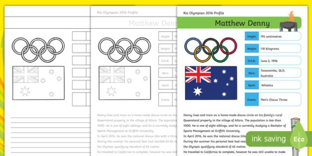 Australian Rio Olympian Matthew Denny Handwriting Practice Activity Sheet-Australia, worksheet
