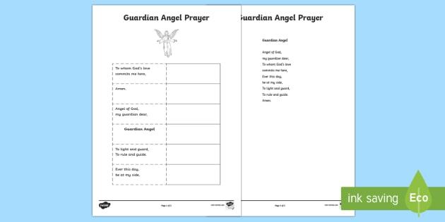 Guardian Angel Prayer Sequencing Worksheet Activity