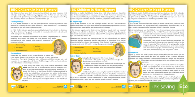UKS2 The History of BBC Children in Need Comprehension Activity