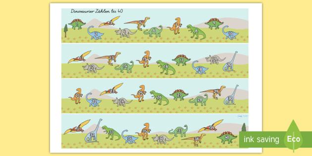dinosaurier z hlen bis 40 aktivit t dinosaurier z hlen bis 40. Black Bedroom Furniture Sets. Home Design Ideas