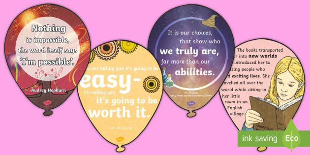 Motivational Balloons Display Pack - motivational, quotes, inspirational, motivation, inspiration, inspiring