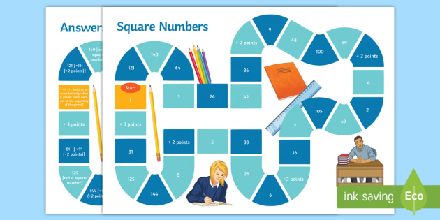 Finding and Identifying Square Numbers Board Game - Square
