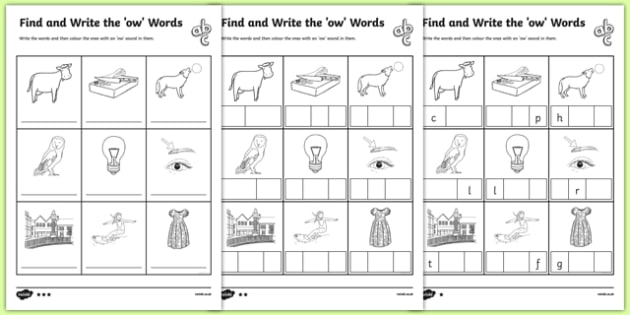 Find and Write the 'ow' Words Differentiated Worksheet Pack