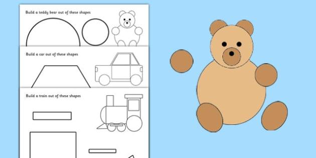 Shape Building Worksheet / Activity Sheet - shapes, shape, build, maths, numeracy, 2D shape, circle, square, triangle, rectangle