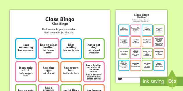 Class Welcome Transition Bingo Board English/Afrikaans - Class Welcome Transition Bingo Board - bingo, bingo board, class welcome, class welcome bingo board,