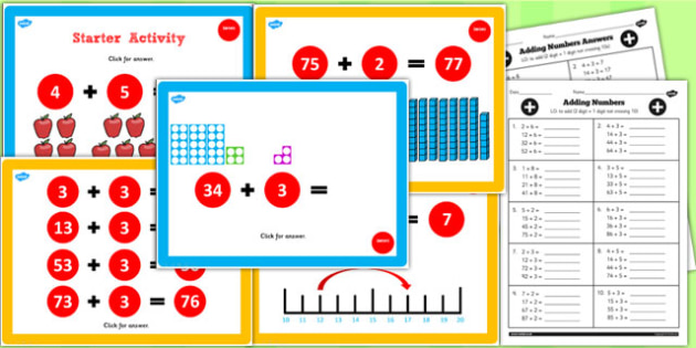 Year 2 Adding 2 Digit Numbers and Ones Not Crossing 10 Lesson