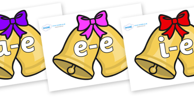 Modifying E Letters on Christmas Bells (Bows) - Modifying E, letters, modify, Phase 5, Phase five, alternative spellings for phonemes, DfES letters and Sounds