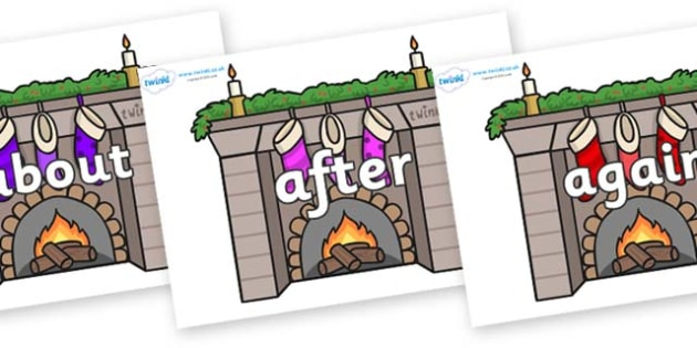 KS1 Keywords on Fireplaces - KS1, CLL, Communication language and literacy, Display, Key words, high frequency words, foundation stage literacy, DfES Letters and Sounds, Letters and Sounds, spelling