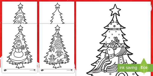 Large Christmas Tree To Colour In Colouring Sheets