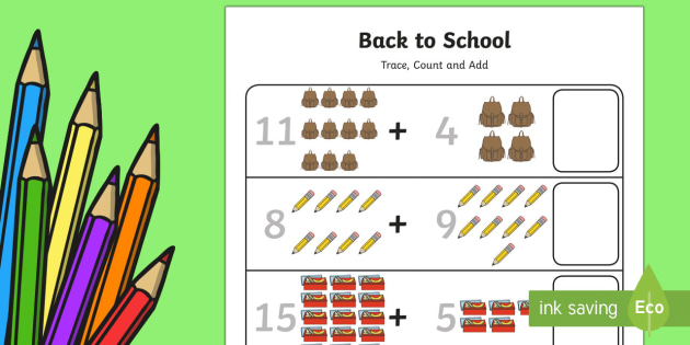 Back to School Trace, Count and Add to 20 Worksheet / Activity Sheet - Back to School, back to school maths, back to school worksheet / activity sheet, back to school worksheet, first