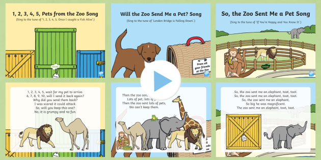Zoo Themed Songs and Rhymes PowerPoints Pack - Dear Zoo, Rod Campbell, animals, letter to the zoo, zoo, pet
