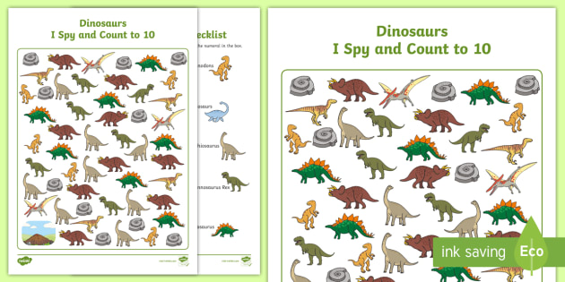 new dinosaurs i spy and count activity to 10 eyfs early years maths. Black Bedroom Furniture Sets. Home Design Ideas