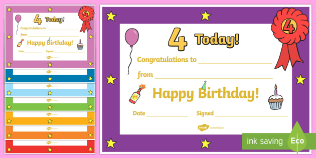 Editable Birthday Certificates (Age 4) - Birthday, Certificate, Award, age 4, birthday gift, present, book, reward, achievement