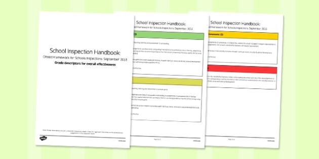 Grade Descriptors for Overall Effectiveness Descriptors Ofsted September 2015 - inspection, slt, assessment, progress, monitoring