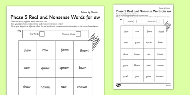 Phase 5 'aw' Colour by Phoneme Real and Nonsense Words - phase 5