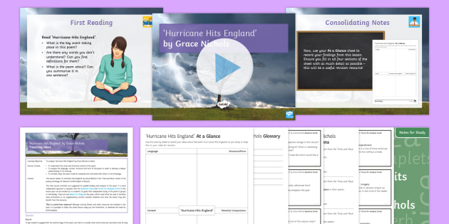 Introductory GCSE Lesson Pack to Support Teaching on 'Hurricane Hits England' by Grace Nichols - GCSE English Literature, Time and Place Cluster, Edexcel Poetry, Poetry Exploration, Exam Practice,