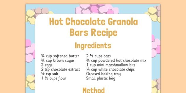 Hot Chocolate Granola Bars Recipe - hot chocolate, granola bars, recipe, eyfs