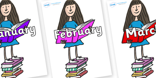 Months of the Year on Matilda to Support Teaching on Matilda - Months of the Year, Months poster, Months display, display, poster, frieze, Months, month, January, February, March, April, May, June, July, August, September