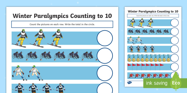 Winter Paralympics Counting to 10 Activity Sheet - worksheet