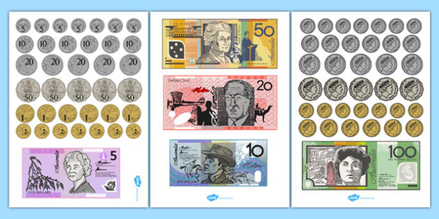Toy Money Cut Outs : Play money australia cut outs out