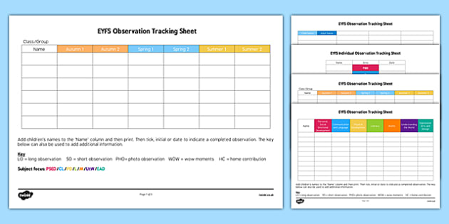 Eyfs Observation Tracking Sheets