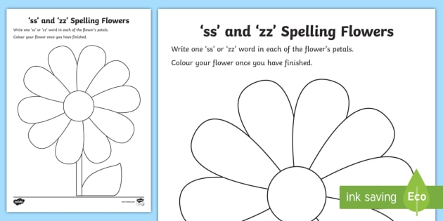 ss' and 'zz' Sound Spelling Flowers Worksheet - jolly ...