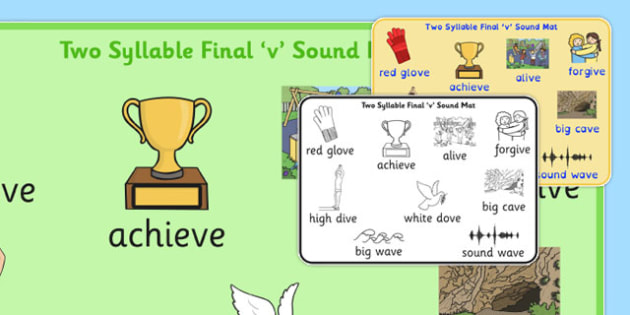 Two Syllable Final 'V' Sound Word Mat 2 - final v, sound, word mat