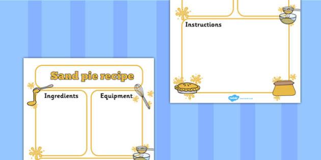 Sand Pie Recipe Writing Frame - making, write, recipes, pies