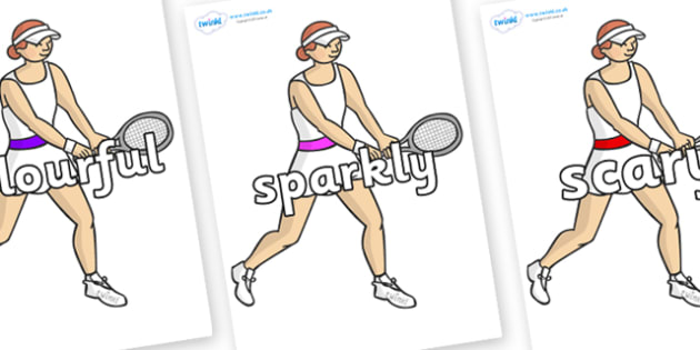 Wow Words on Tennis Players - Wow words, adjectives, VCOP, describing, Wow, display, poster, wow display, tasty, scary, ugly, beautiful, colourful sharp, bouncy
