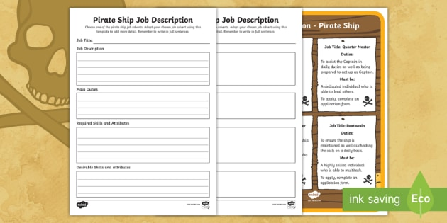 Ks Pirate Ship Job Description Writing Frames  Career