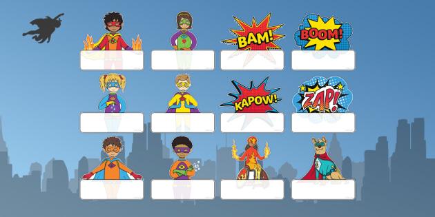free  - editable superhero labels