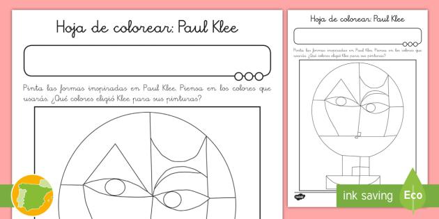 NEW * Hoja de colorear: Paul Klee - Expresionismo, cubismo