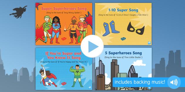superheroes songs and rhymes powerpoints pack superheroes