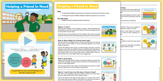 BBC Children in Need Helping a Friend in Need Assembly Pack