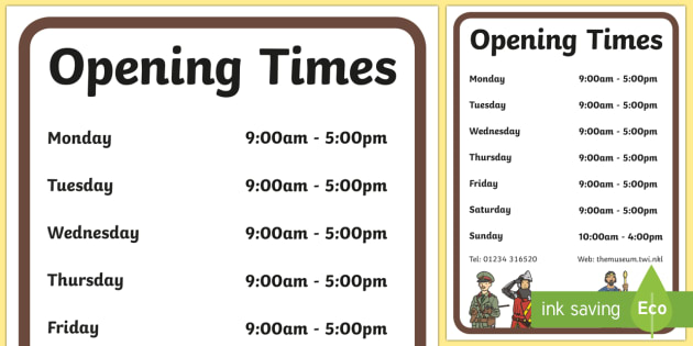 Museum Role Play Opening Times - museum, role play, opening times, role play opening times, museum role play, museum opening times, role play props, props