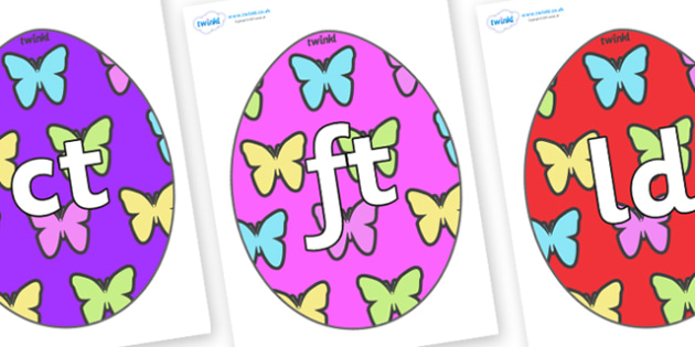 Final Letter Blends on Easter Eggs (Butterflies) - Final Letters, final letter, letter blend, letter blends, consonant, consonants, digraph, trigraph, literacy, alphabet, letters, foundation stage literacy