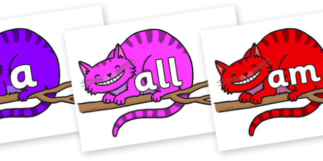 Foundation Stage 2 Keywords on Cheshire Cats - FS2, CLL, keywords, Communication language and literacy,  Display, Key words, high frequency words, foundation stage literacy, DfES Letters and Sounds, Letters and Sounds, spelling