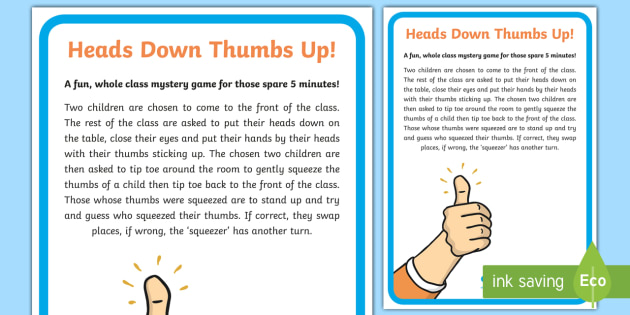 Heads down thumbs up game
